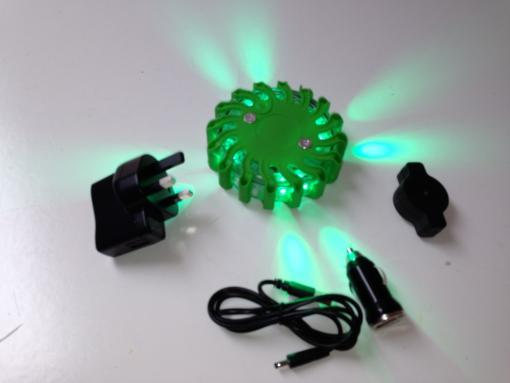 Rechargeable Flashing LED Safety Road Flare - Green
