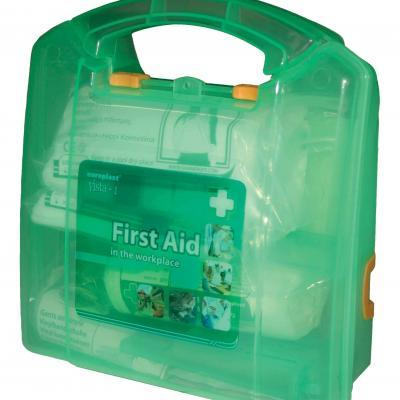 Basic Medium Wall Mounted First Aid Box  Kitted