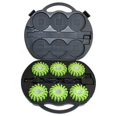 Rechargable  LED Road Flare - Green (6 Pack)