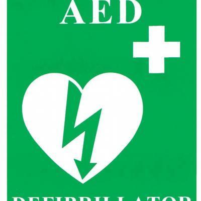 """""""AED/Defibrillator"""" Laminated Sign"""