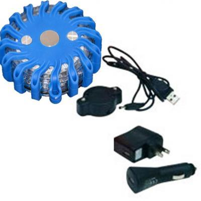 Rechargeable Flashing LED Safety Road Flare - Blue